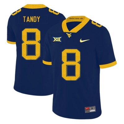 NCAA West Virginia Mountaineers 8 Keith Tandy Navy College Football Men Jersey