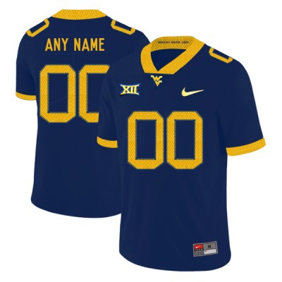 NCAA West Virginia Mountaineers Customized Navy College Football Men Jersey