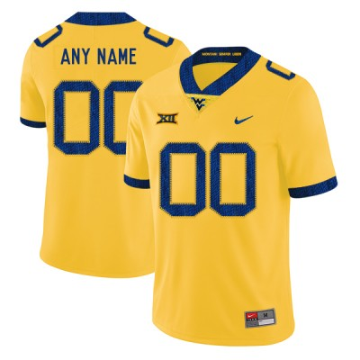 NCAA West Virginia Mountaineers Customized Yellow College Football Men Jersey