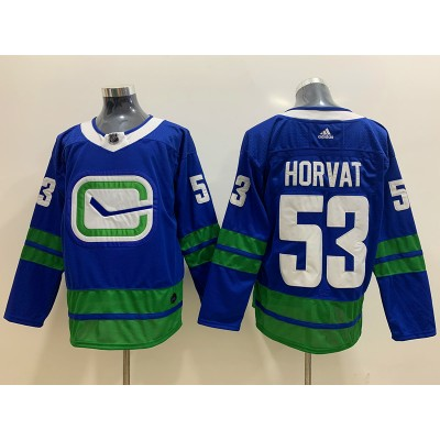 NHL Canucks 53 Bo Horvat Blue Adidas Men Jersey