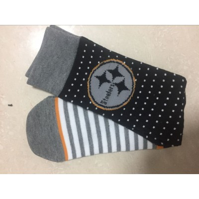 Pittsburgh Steelers Team Logo Black Gray NFL Socks