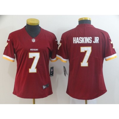 Nike Redskins 7 Dwayne Haskins Jr Burgundy Vapor Untouchable Limited Women Jersey