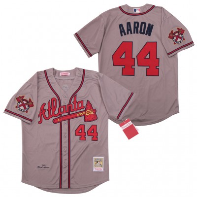 MLB Braves 44 Hank Aaron Gray 1974 Cooperstown Collection Men Jersey