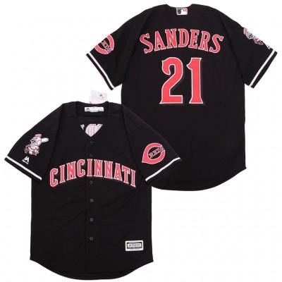 MLB Reds 21 Deion Sanders Black Cool Base Men Jersey