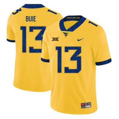 NCAA West Virginia Mountaineers 13 Andrew Buie Yellow College Football Men Jersey