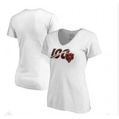 Chicago Bears NFL Pro Line 100th Season V-Neck Women T-Shirt