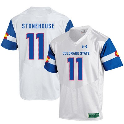 NCAA Colorado State Rams 11 Ryan Stonehouse White College Football Men Jersey