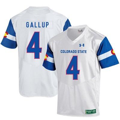 NCAA Colorado State Rams 4 Michael Gallup White College Football Men Jersey