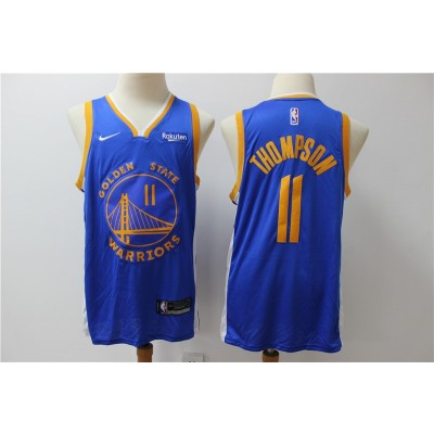 NBA Warriors 11 Klay Thompson Blue Nike Men Jersey