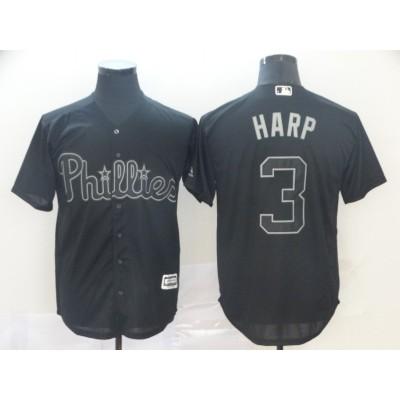 MLB Phillies 3 Bryce Harper Harp Black 2019 Players Weekend Player Men Jersey