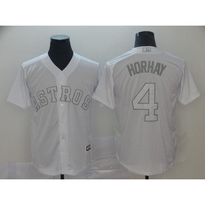 MLB Astros 4 George Springer Horhay White 2019 Players Weekend Player Men Jersey
