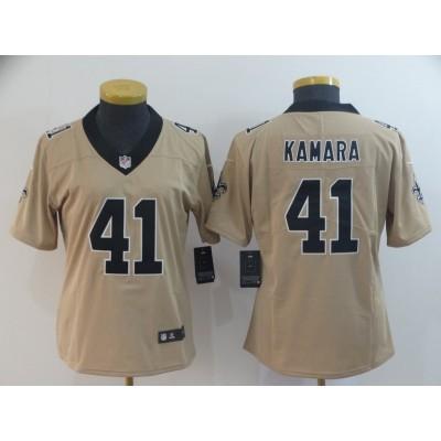 Nike Saints 41 Alvin Kamara Gold Inverted Legend Women Jersey