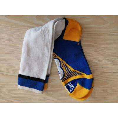 Golden State Warriors Team Logo White Blue NBA Socks