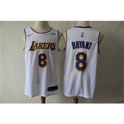 Lakers 8 Kobe Bryant White Nike Swingman Men Jersey