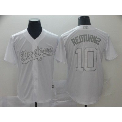 MLB Los Angeles Dodgers 10 Justin Turner RedTurn2 White 2019 Players' Weekend Men Jersey