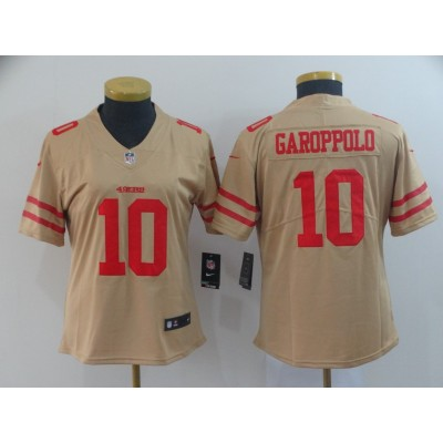 Nike 49ers 10 Jimmy Garoppolo Gold Inverted Legend Women Jersey