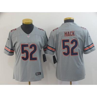 Nike Bears 52 Khalil Mack Gray Inverted Legend Women Jersey