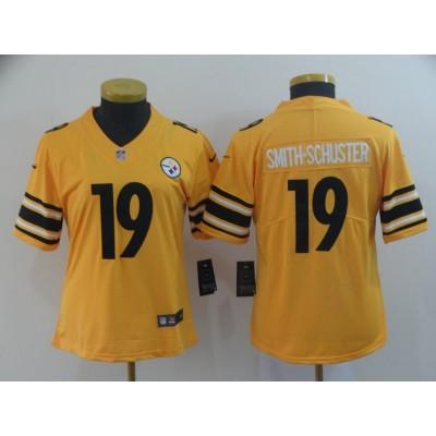 Nike Pittsburgh Steelers 19 JuJu Smith-Schuster Inverted Legend Gold Women Jersey