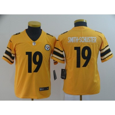 Nike Pittsburgh Steelers 19 JuJu Smith-Schuster Inverted Legend Gold Youth Jersey