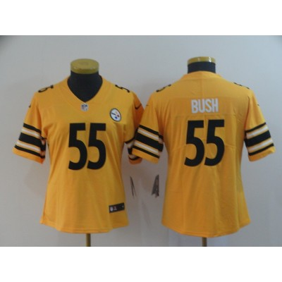 Nike Pittsburgh Steelers 55 Devin Bush Inverted Legend Gold Women Jersey