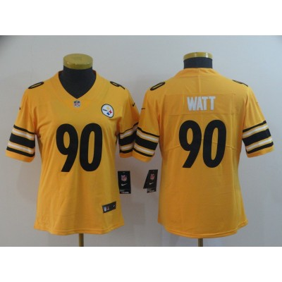 Nike Pittsburgh Steelers 90 T.J. Watt Inverted Legend Gold Women Jersey