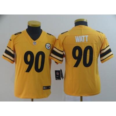 Nike Pittsburgh Steelers 90 T.J. Watt Inverted Legend Gold Youth Jersey