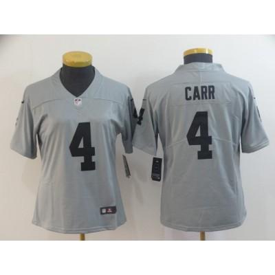Nike Raiders 4 Derek Carr Grey Inverted Legend Women Jersey