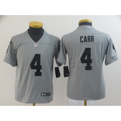 Nike Raiders 4 Derek Carr Grey Inverted Legend Youth Jersey