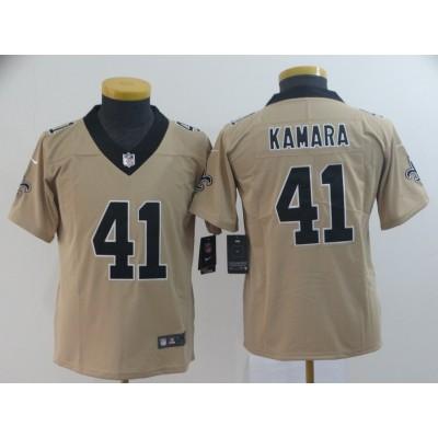 Nike Saints 41 Alvin Kamara Gold Inverted Legend Youth Jersey