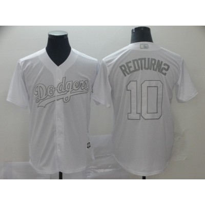 MLB Dodgers 10 Justin Turner RedTurn2 White 2019 Players Weekend Player Men Jersey
