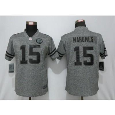 Nike Chiefs 15 Patrick Mahomes Gray Gridiron Gray Vapor Untouchable Limited Women Jersey