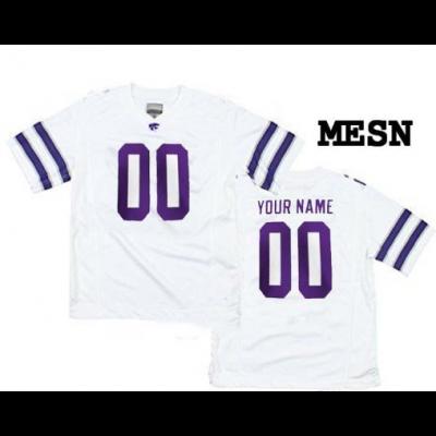 NCAA Kansas State Wildcats White Custom Men Football Jersey