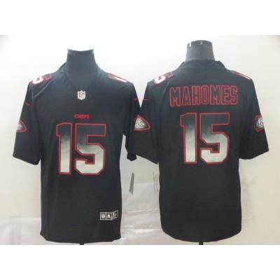 Kansas City Chiefs 15 Patrick Mahomes 2019 Black Smoke Fashion Limited Men Jersey