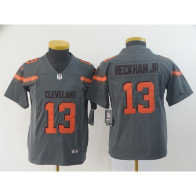Nike Browns 13 Odell Beckham Jr. Grey Inverted Legend Youth Jersey