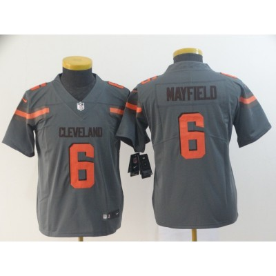 Nike Browns 6 Baker Mayfield Grey Inverted Legend Youth Jersey