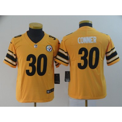 Nike Pittsburgh Steelers 30 James Conner Gold Inverted Legend Youth Jersey