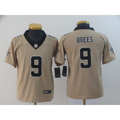 Nike Saints 9 Drew Brees Gold Inverted Legend Youth Jersey