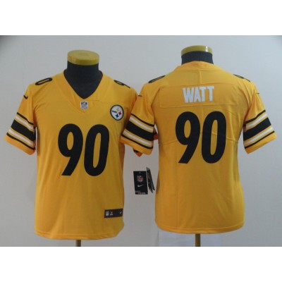 Nike Steelers 90 T.J. Watt Gold Inverted Legend Limited Youth Jersey