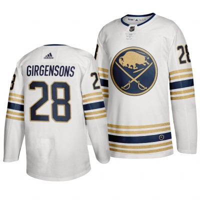 Sabres 28 Zemgus Girgensons White 50th anniversary Adidas Men Jersey