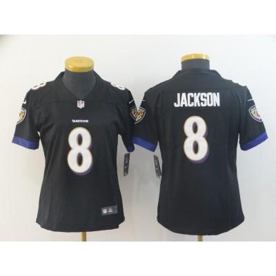 Nike Ravens 8 LaMar Jackson Black Vapor Untouchable Limited  Women Jersey