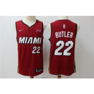 NBA Heat 22 Jimmy Butler Red Nike Men Jersey With Logo