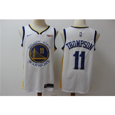 NBA Warriors 11 Klay Thompson White Home Men Men Jersey With Logo