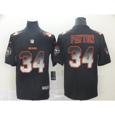 Chicago Bears 34 Walter Payton 2019 Black Smoke Fashion Limited Men Jersey