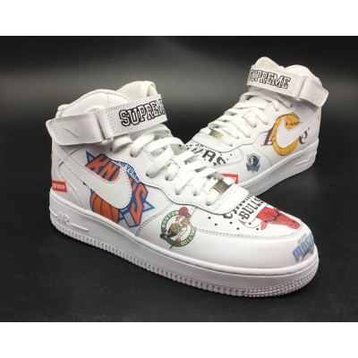 Supreme x Nike Air Force 1 Mid White Shoes