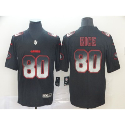 San Francisco 49ers 80 Jerry Rice Black 2019 Smoke Fashion Limited Men Jersey