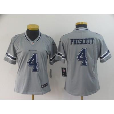 Nike Cowboys 4 Dak Prescott Grey Inverted Legend Women Jersey