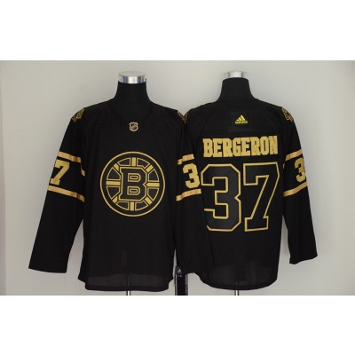 Bruins 37 Patrice Bergeron Black Gold Adidas Men Jersey