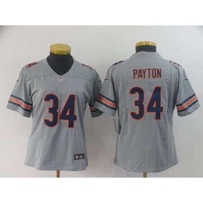 Nike Bears 34 Walter Payton Sliver Inverted Legend Women Jersey