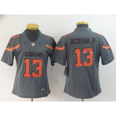 Nike Browns 13 Odell Beckham Jr. Grey Inverted Legend Women Jersey