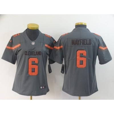 Nike Browns 6 Baker Mayfield Grey Inverted Legend Women Jersey